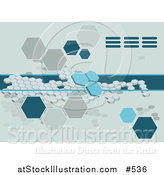 Vector Illustration of a Blue Octagon Background by AtStockIllustration