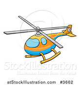 Vector Illustration of a Blue Orange and Yellow Helicopter by AtStockIllustration