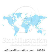 Vector Illustration of a Blue Pixel Atlas Map by AtStockIllustration