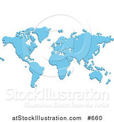 Vector Illustration of a Blue Pixelated Map by AtStockIllustration