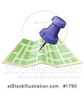 Vector Illustration of a Blue Push Pin over a Green Street Map by AtStockIllustration