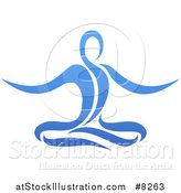 Vector Illustration of a Blue Relaxed Person Meditating by AtStockIllustration