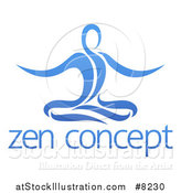 Vector Illustration of a Blue Relaxed Person Meditating over Text by AtStockIllustration