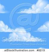 Vector Illustration of a Blue Sky and Puffy Cloud Seamless Background Pattern by AtStockIllustration