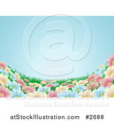 Vector Illustration of a Blue Sky over a Spring Flower Meadow Background by AtStockIllustration