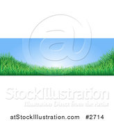 Vector Illustration of a Blue Sky with Copyspace and Green Grass Website Banner by AtStockIllustration