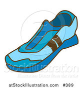 Vector Illustration of a Blue Slip on Tennis Shoes by AtStockIllustration