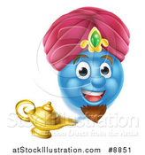 Vector Illustration of a Blue Smiley Emoji Emoticon Genie Emerging from a Lamp by AtStockIllustration
