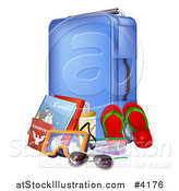 Vector Illustration of a Blue Suitcase with Travel Essentials by AtStockIllustration