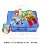 Vector Illustration of a Blue Suitcase with Travel Items and a Passport by AtStockIllustration