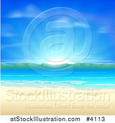 Vector Illustration of a Blue Sunrise over a Beach with White Sands, Mountains and Blue Water by AtStockIllustration