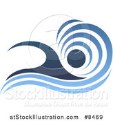 Vector Illustration of a Blue Swimmer Design with a Wave by AtStockIllustration