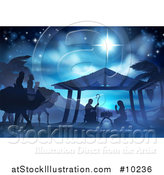 Vector Illustration of a Blue Toned Nativity Scene the Magi Wise Men, Star of David, Baby Jesus, Mary and Joseph by AtStockIllustration