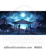 Vector Illustration of a Blue Toned Nativity Scene with Animals, Wise Men, the City of Bethlehem and Star of David by AtStockIllustration