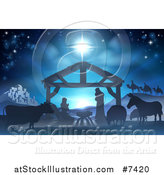 Vector Illustration of a Blue Toned Nativity Scene with the Animals and Wise Men in the Distance and the City of Bethlehem by AtStockIllustration