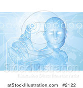 Vector Illustration of a Blue Virtual Man Pushing a Button on a Map Screen by AtStockIllustration