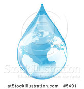 Vector Illustration of a Blue Water Drop Earth with Reflections by AtStockIllustration