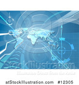 Vector Illustration of a Blue World Map, Arrows and Paths Background by AtStockIllustration