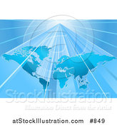 Vector Illustration of a Blue World Map over a Lighter Blue Background with Bright Beams of Light by AtStockIllustration