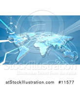 Vector Illustration of a Blue World Map with Flight Paths by AtStockIllustration