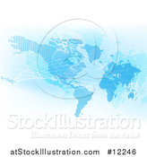 Vector Illustration of a Blue World Map with Grid Lines by AtStockIllustration
