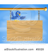 Vector Illustration of a Bluebird Perched on and Presenting a Hanging Wood Sign Against a Sky by AtStockIllustration