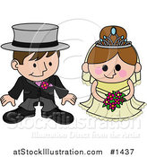 Vector Illustration of a Blushing Bride Standing Beside Her Groom During the Wedding Ceremony by AtStockIllustration
