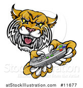 Vector Illustration of a Bobcat Mascot Playing a Video Game by AtStockIllustration