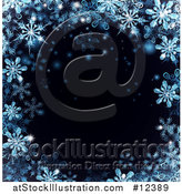 Vector Illustration of a Border of Blue Snowflakes over Black by AtStockIllustration