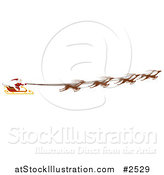 Vector Illustration of a Border of Santas Magic Sleigh and Flying Reindeer by AtStockIllustration