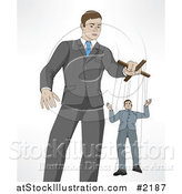 Vector Illustration of a Boss Controlling an Employee on Puppet String by AtStockIllustration