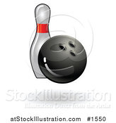 Vector Illustration of a Bowling Ball Making Contact with a Pin, by AtStockIllustration