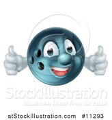 Vector Illustration of a Bowling Ball Mascot Giving Two Thumbs up by AtStockIllustration