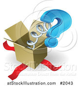 Vector Illustration of a Box with a Springy Question Mark by AtStockIllustration