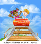 Vector Illustration of a Boy and Girl on a Roller Coaster Ride, Against a Blue Sky with Clouds by AtStockIllustration