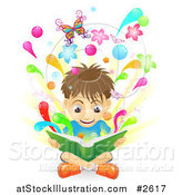 Vector Illustration of a Boy Reading a Book As It Comes to Life by AtStockIllustration