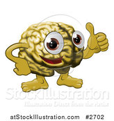 Vector Illustration of a Brain Guy Holding a Thumb up by AtStockIllustration