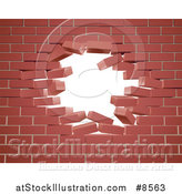 Vector Illustration of a Breaking Brick Wall with a Hole by AtStockIllustration