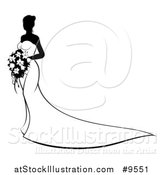 Vector Illustration of a Bride Posing with Bouquet - White and Black Version by AtStockIllustration