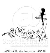 Vector Illustration of a Bride Wedding Fashion Silhouette in Black and White by AtStockIllustration