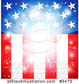 Vector Illustration of a Bright American Flag Burst Background by AtStockIllustration