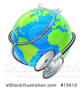 Vector Illustration of a Bright Blue and Green World Earth Globe with a Stethoscope by AtStockIllustration