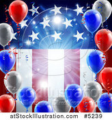 Vector Illustration of a Bright Burst and 3d Party Balloons over an American Flag by AtStockIllustration