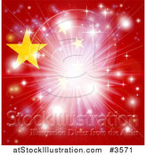 Vector Illustration of a Bright Burst of Light over a Chinese Flag by AtStockIllustration