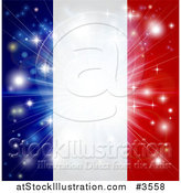 Vector Illustration of a Bright Burst of Light over a French Flag by AtStockIllustration