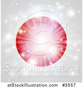 Vector Illustration of a Bright Burst of Light over a Japanese Flag by AtStockIllustration
