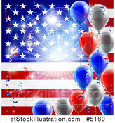 Vector Illustration of a Bright Burst over an American Flag and Fourth of July Balloons by AtStockIllustration