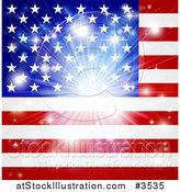 Vector Illustration of a Bright Burst over an American Flag by AtStockIllustration