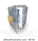 Vector Illustration of a Bright Light Shining from Inside a 3d Safe by AtStockIllustration