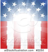 Vector Illustration of a Bright Light Shining on a Vertical American Flag by AtStockIllustration